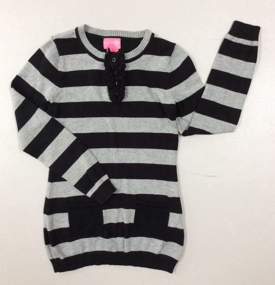 J Khaki Girls Tunic Sweater Size Small Long Sleeve Black White ...