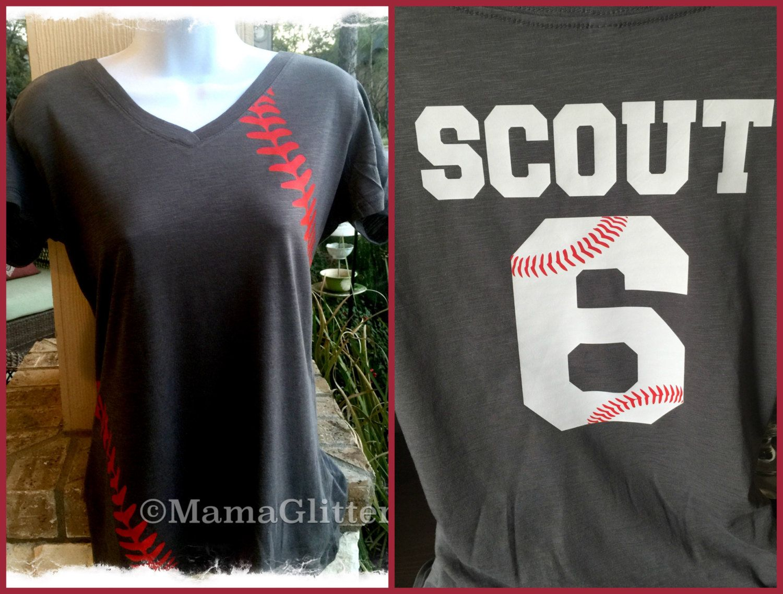 Shirt design with laces - V Neck Baseball Laces T Shirt Baseball Mom Shirt By Mamaglitter