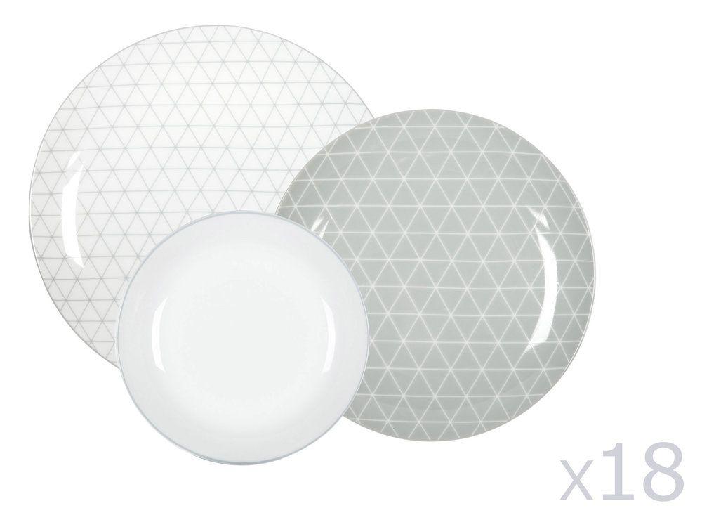 porcelaine Composition : 6 assiettes plates : diamètre 26.5cm 6 assiette à dessert : diamètre 20cm 6 assiettes creuses / coupelles : diamètre 20cm x hauteur 4cm Motifs :...
