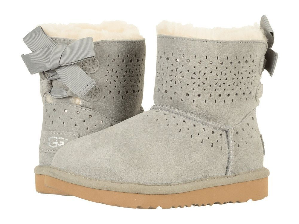 4e22cf4de6 UGG AUSTRALIA Boots Dae Sunshine Perf Bow Uggs Leather Grey Ankle Booties 7  New  UGGAustralia  Booties