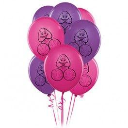 BACHELORETTE 8 PECKER BALLOONSSet de 6 globos rosa y lila con