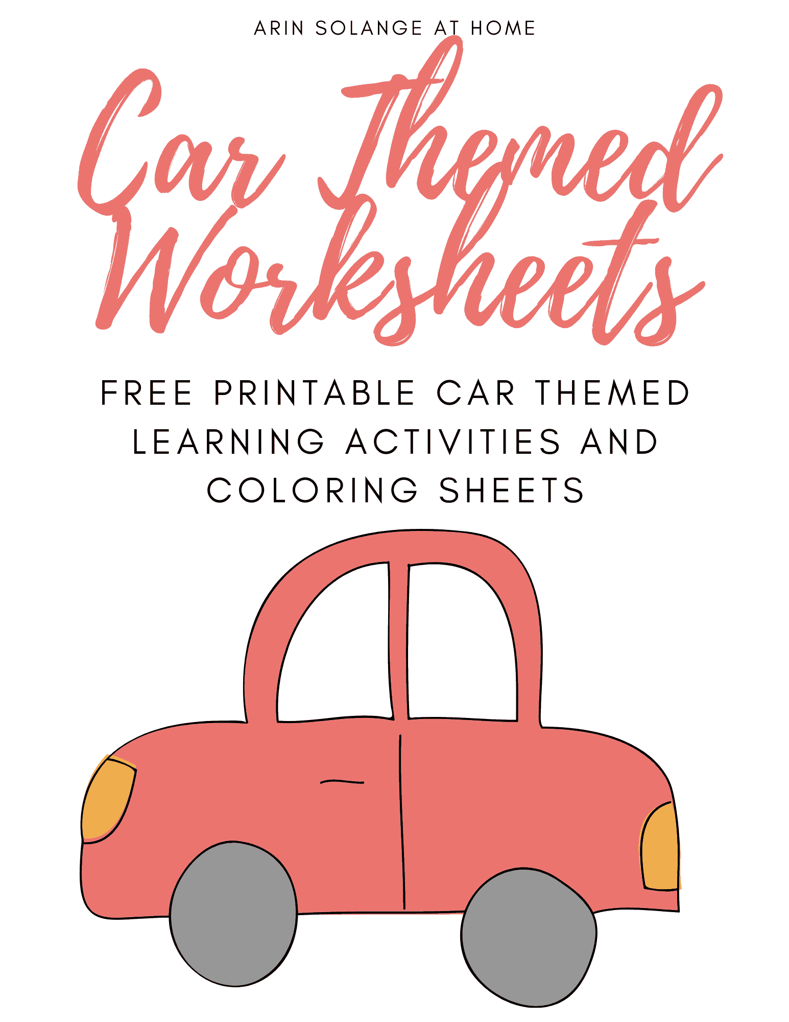 Free Printable Preschool Worksheets Car Themed In