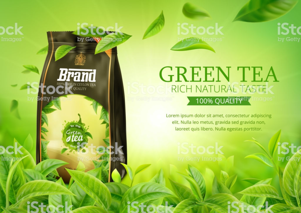 3d Realistic Vector Horizontal Banner Nature Green Tea Garden Tea Packaging Design Tea Packaging Green Tea