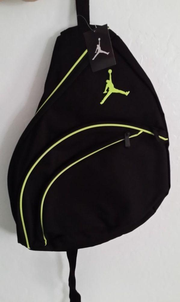 d4ef3d2fa1 New Nike Jordan Jumpman 23 Sling Backpack Bookbag Gymbag Black Lime Green   Jordan  Bookbag  SlingBagPack