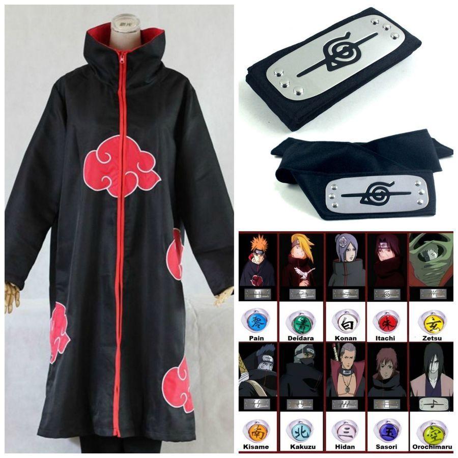 Naruto Akatsuki Uchiha Itachi Robe Cloak Coat Anime Cosplay Costume Size XL NEW