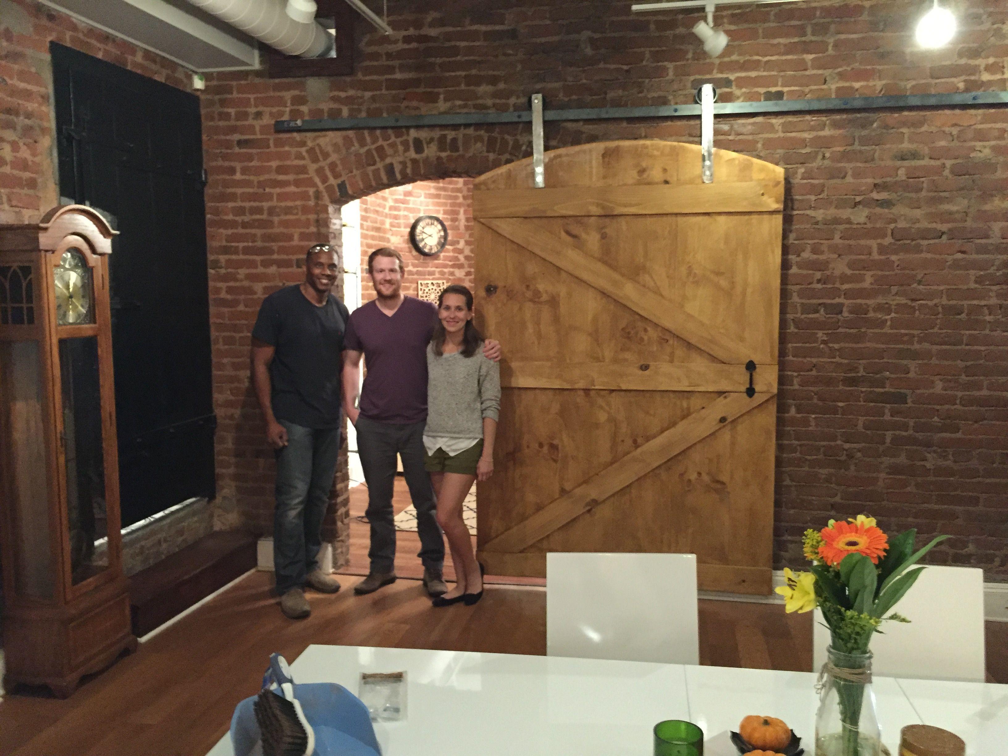 Midtown Client Enjoys Custom Built Arched Barn Door From Cowboy Jeff.  Custom Barn Door Hardware