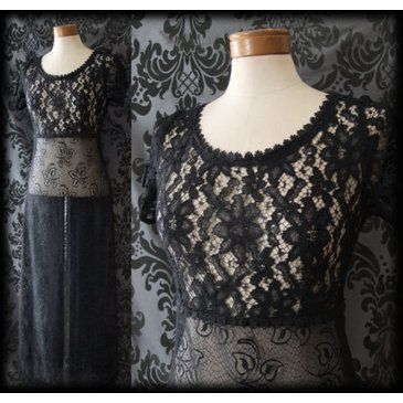 Gothic Sheer Black Lace LIFE OF SHADOWS Long Tea Dress 8 10 Victorian Vintage