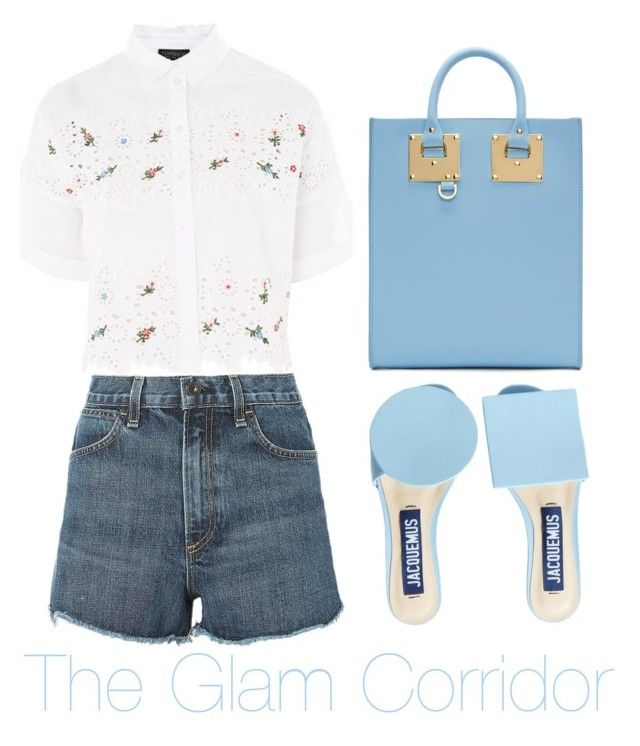 """Light blue geometry"" by theglamcorridor ❤ liked on Polyvore featuring Jacquemus, Sophie Hulme, Topshop and rag & bone"