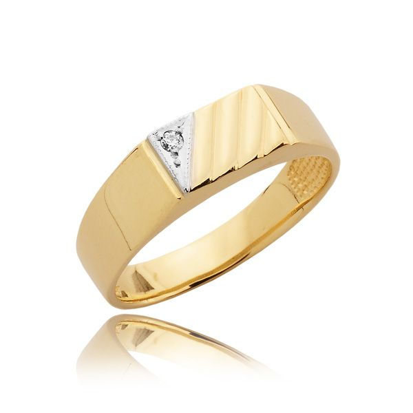 MENS TRADITIONAL DIAMOND SIGNET RING 0 03 CT This traditional