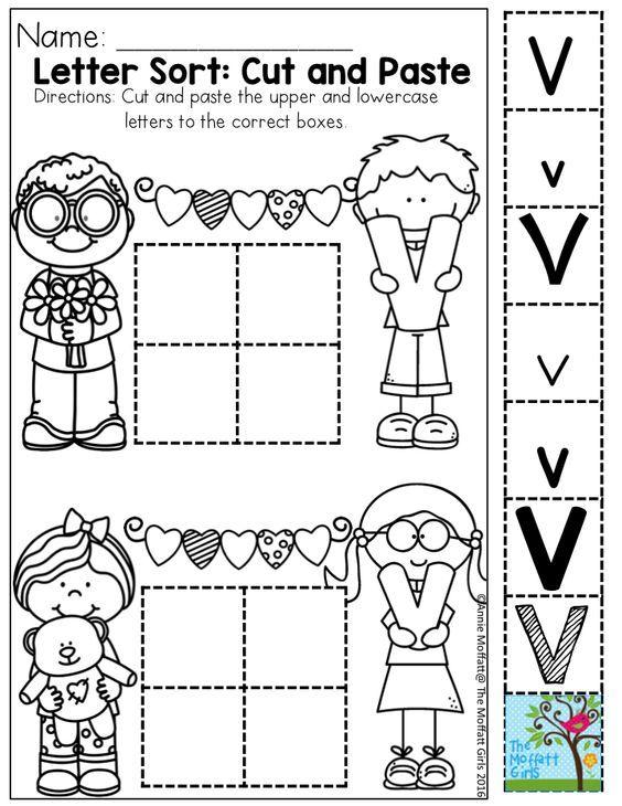 v for valentine letter sort cut and paste alphabet pinterest speech activities morning. Black Bedroom Furniture Sets. Home Design Ideas