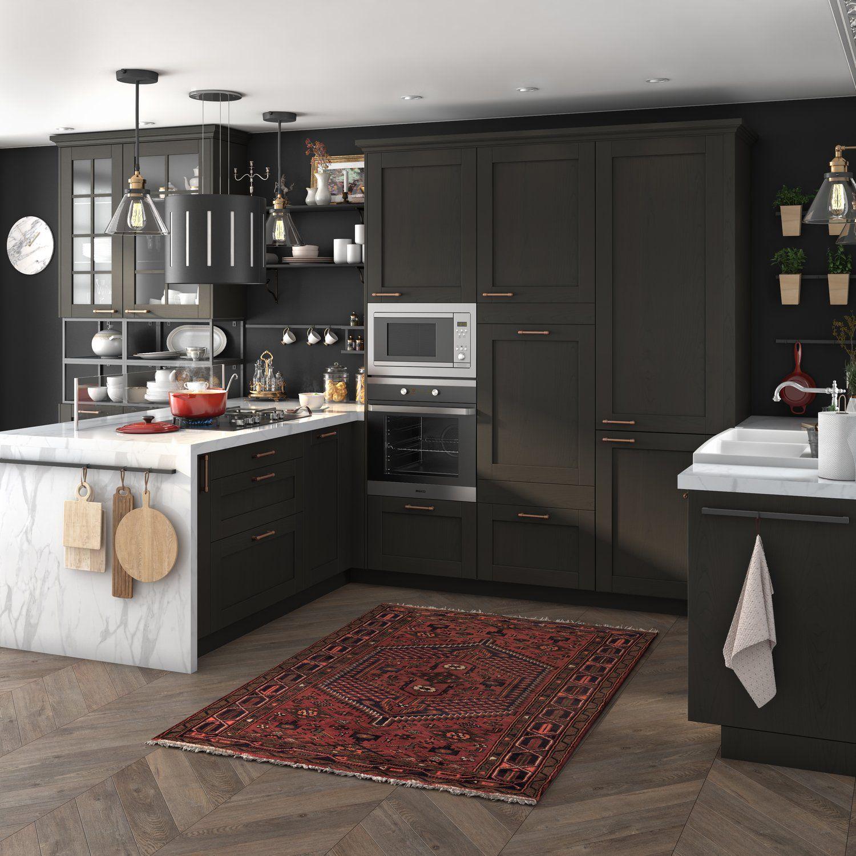 Grande Cuisine Familiale Noire Et Plan De Travail Sur Mesure Leroy Merlin Choses De Cuisine Cuisine Appartement Cuisine Moderne