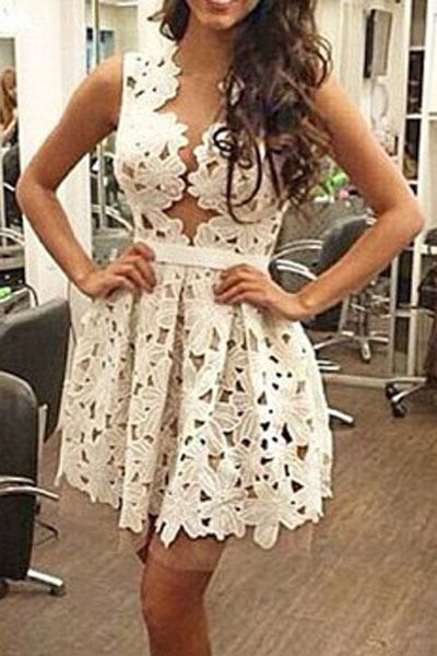 Plus Size Real Sale Summer Dresses 2016 Vestidos De Mujer Hollowed Lace Skater Dress Women Sexy Outfit For Garden Party Lc22004
