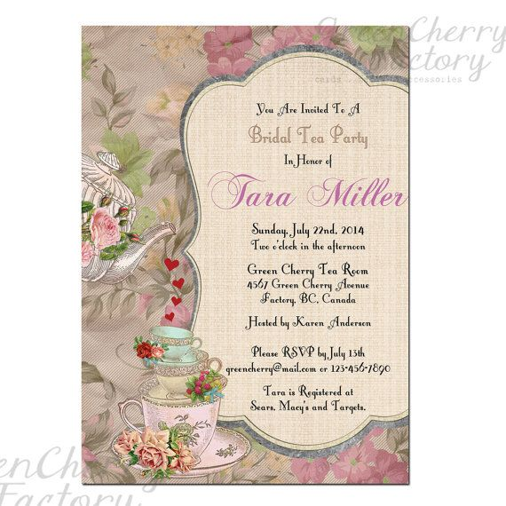 Shabby Spring Bridal Shower High Tea Invite By Greencherryfactory 18 00