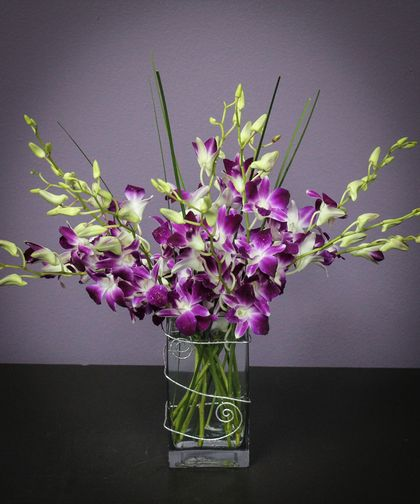 Orchid Delight This Long Lasting Arrangement Of Dendrobium Orchids In An Elegant Rectangular Vase I Flower Delivery Same Day Flower Delivery Dendrobium Orchids