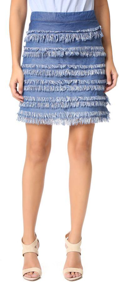 Denim Fringe Skirt!