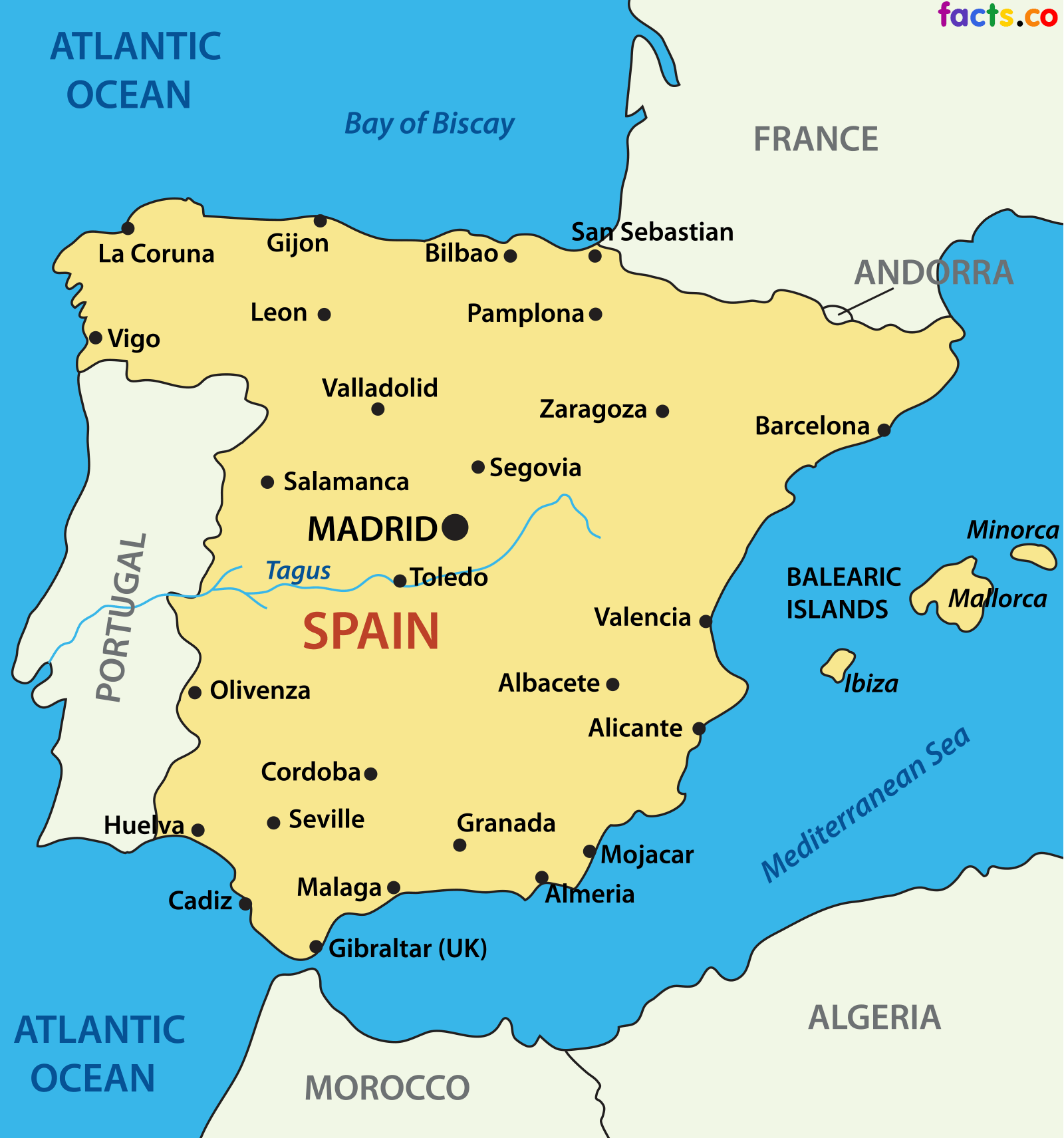 Map Of Spain And Surrounding Countries.Map Of Spain Portugal And Surrounding Countries Year Of Clean Water