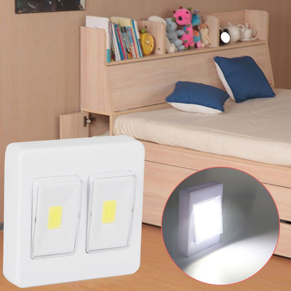 W cob led wall switch wireless closet cordless night light battery