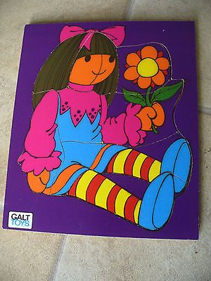 Vintage galt toys wooden jigsaw #puzzle -  girl doll with flower - #1980s #retro,  View more on the LINK: http://www.zeppy.io/product/gb/2/361596651597/