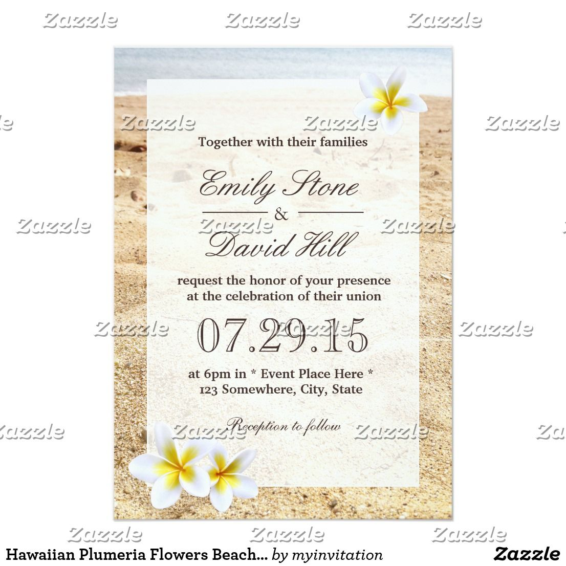 Hawaiian Plumeria Flowers Beach Wedding Invitation | Beach Wedding ...