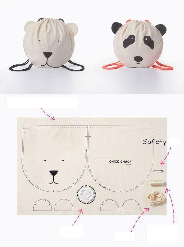 Panda çanta | Bolsos Infantiles | Costura, Patrones y Moldes