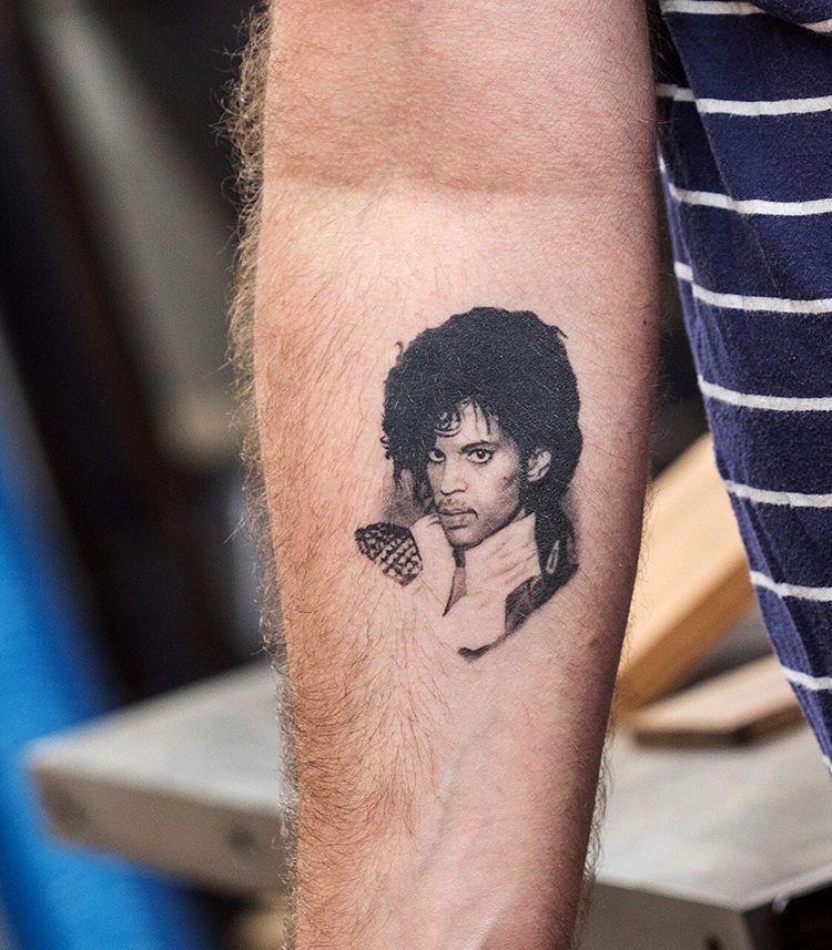 Healed prince micro portrait tattoo by pony lawson