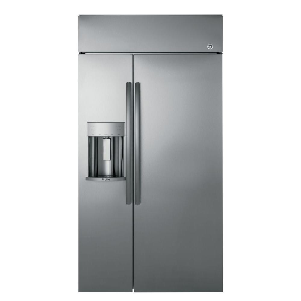 Ge Profile 24 3 Cu Ft Built In Side By Side Refrigerator In Stainless Steel Psb42yskss Side By Side Refrigerator Built In Refrigerator Glass Shelves