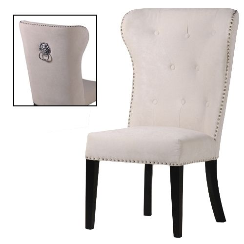 Chairs With Ring Backs Beige Lions Head Ring Back Studded Dining Chair
