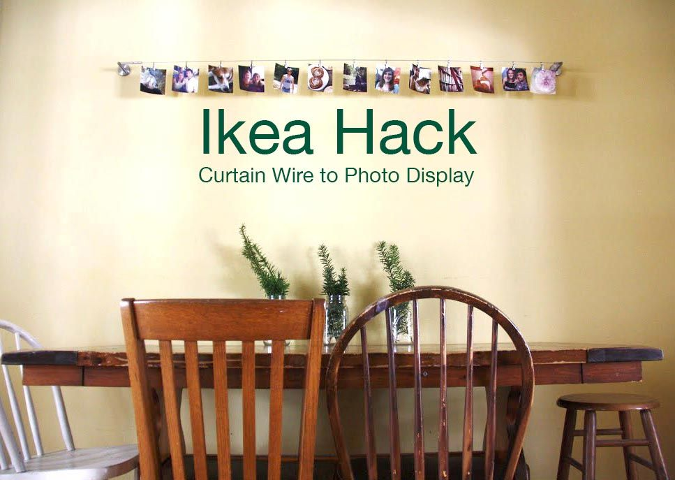 Ikea Hack Curtain Wire To Photo Display Redleafstyle Diy
