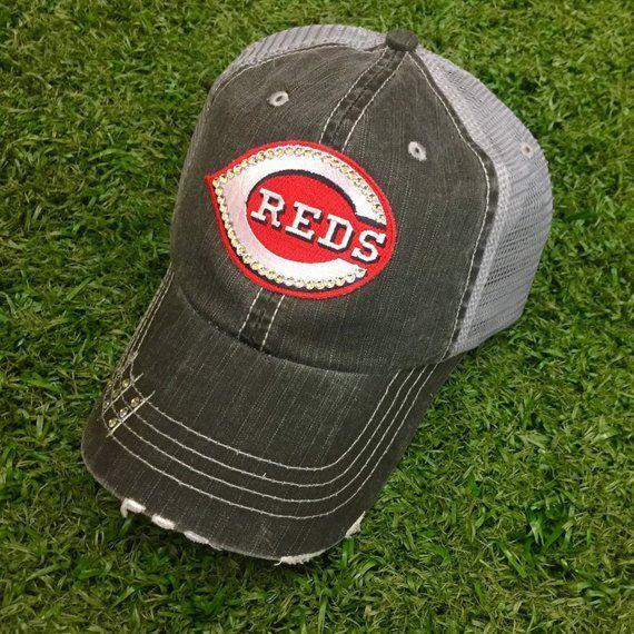 63a74fed0201a Cincinnati Reds Baseball Bling Swarovski Ladies Womens Trucker Hat