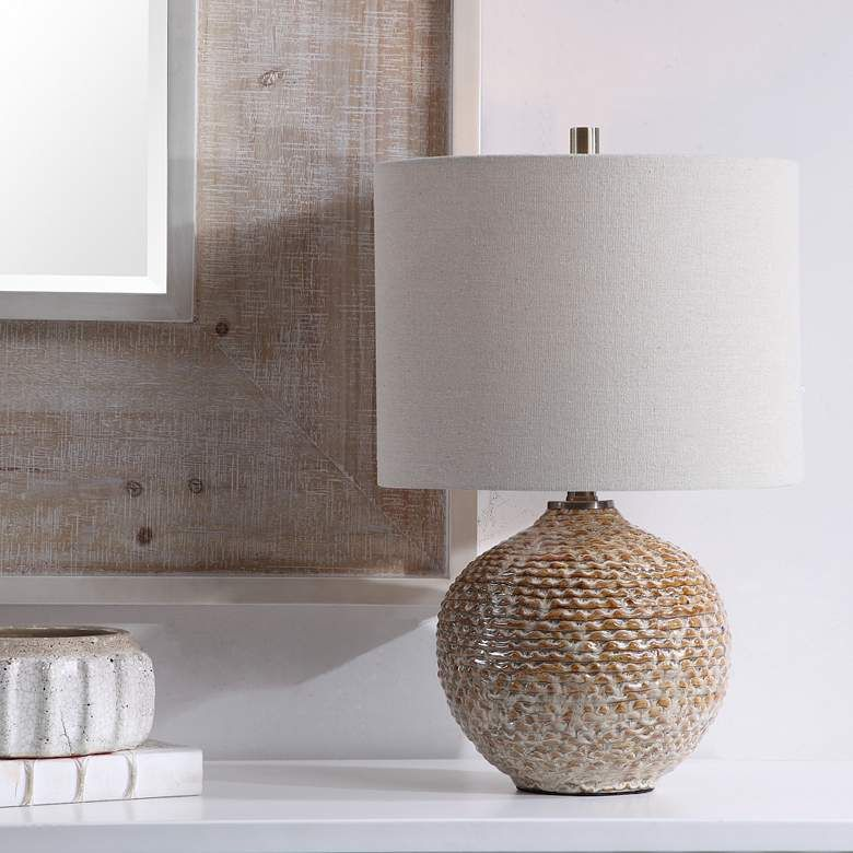 Uttermost Lagos Brown And Taupe Ceramic Accent Table Lamp 78v17
