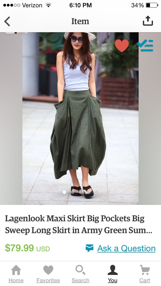 Skirt on Etsy Green with pockets