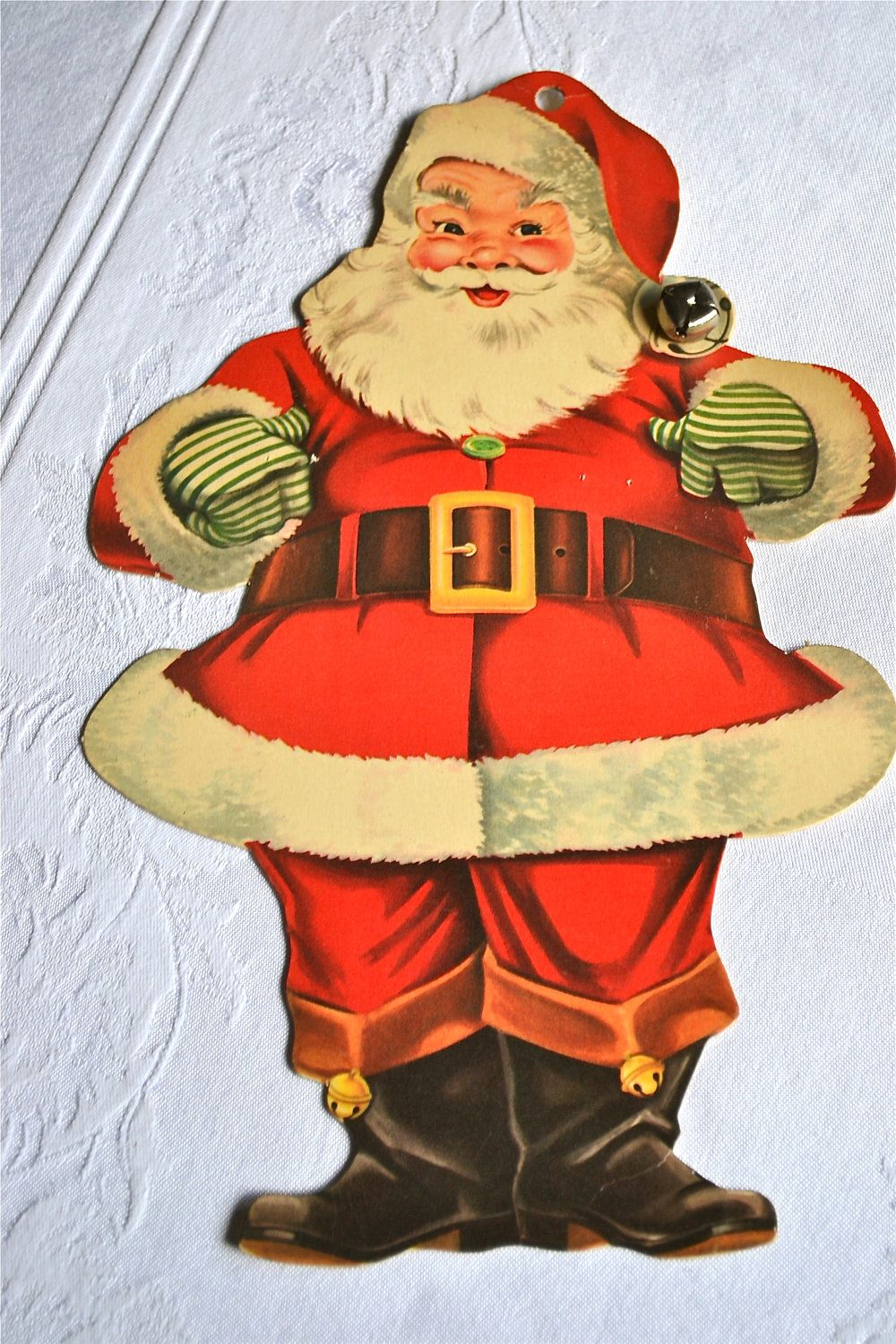 Vintage christmas decorations 1950s - Vintage Christmas Decoration Die Cut Wall Hanging Santa Claus With Bell