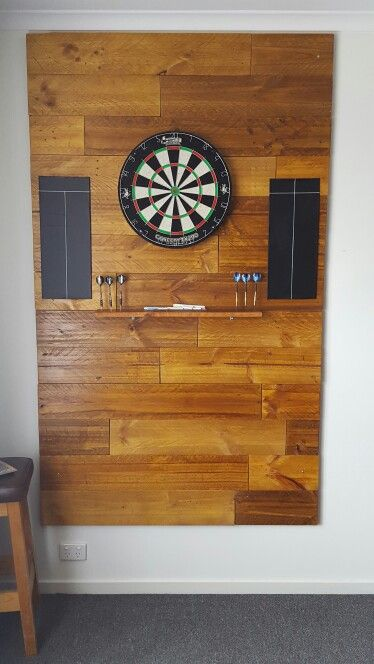 Man Cave Cabinet Ideas : Dart board backing all made from pallets and stained