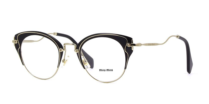 b36c22a8af79 Miu Miu MU 52PV 1AB1O1 Matte Black and Black with Pale Gold Glasses