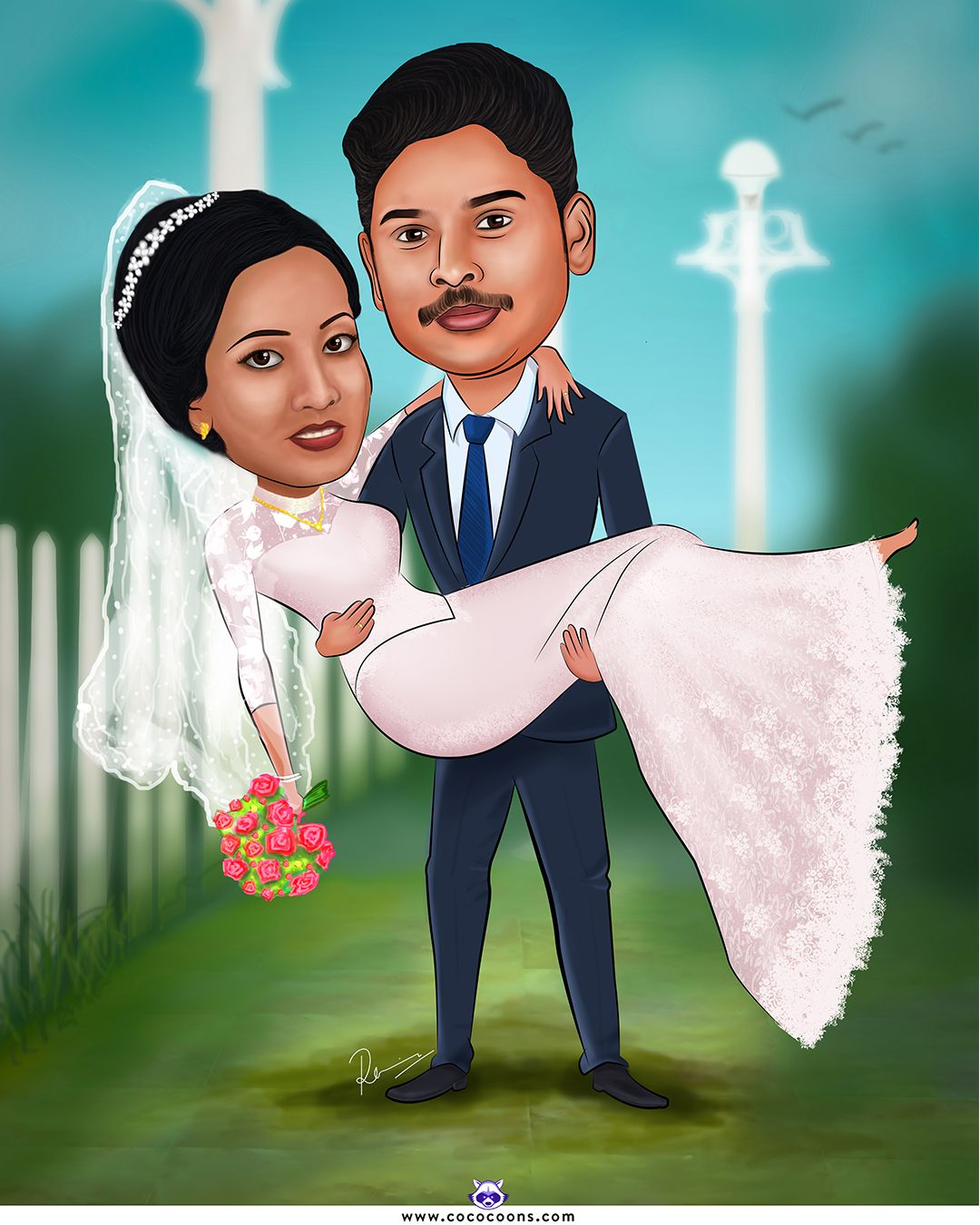 christian wedding caricature, Custom Caricatures