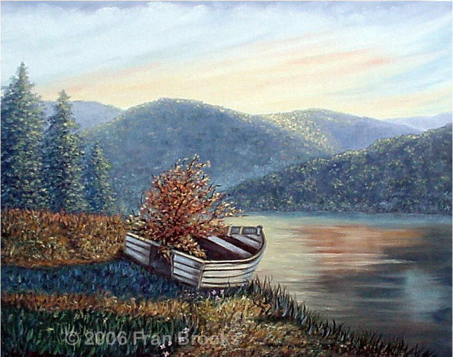 A mountain river landscape shows an old boat on shore with a small tree growing up through a hole in the boat - an original painting by North Carolina artist, Fran Brooks. www.artistnannie.com