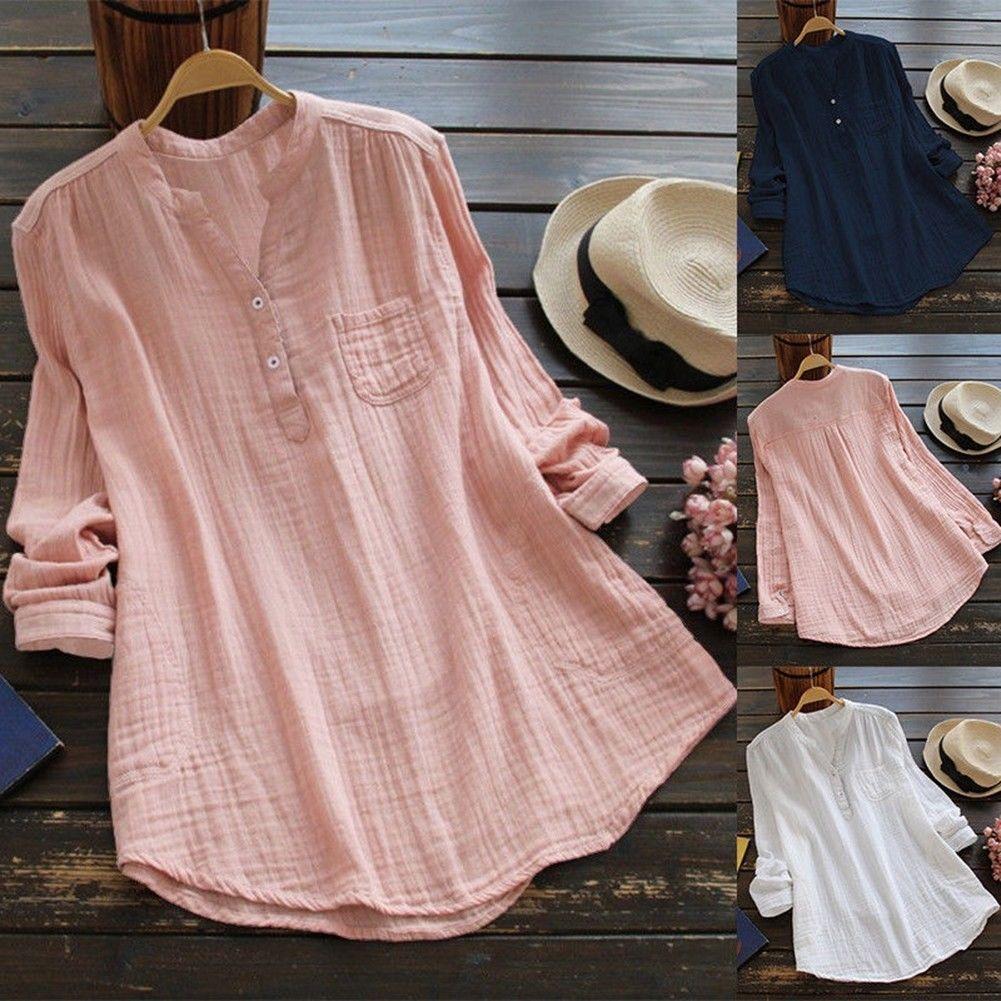 50c1c90a8 11.71   Women Cotton Summer Gypsy Baggy Tunic Top Shirt Long Sleeve Blouse  Plus Size Lot ❤ #women #cotton #summer #gypsy #baggy #tunic #shirt #long  #sleeve ...