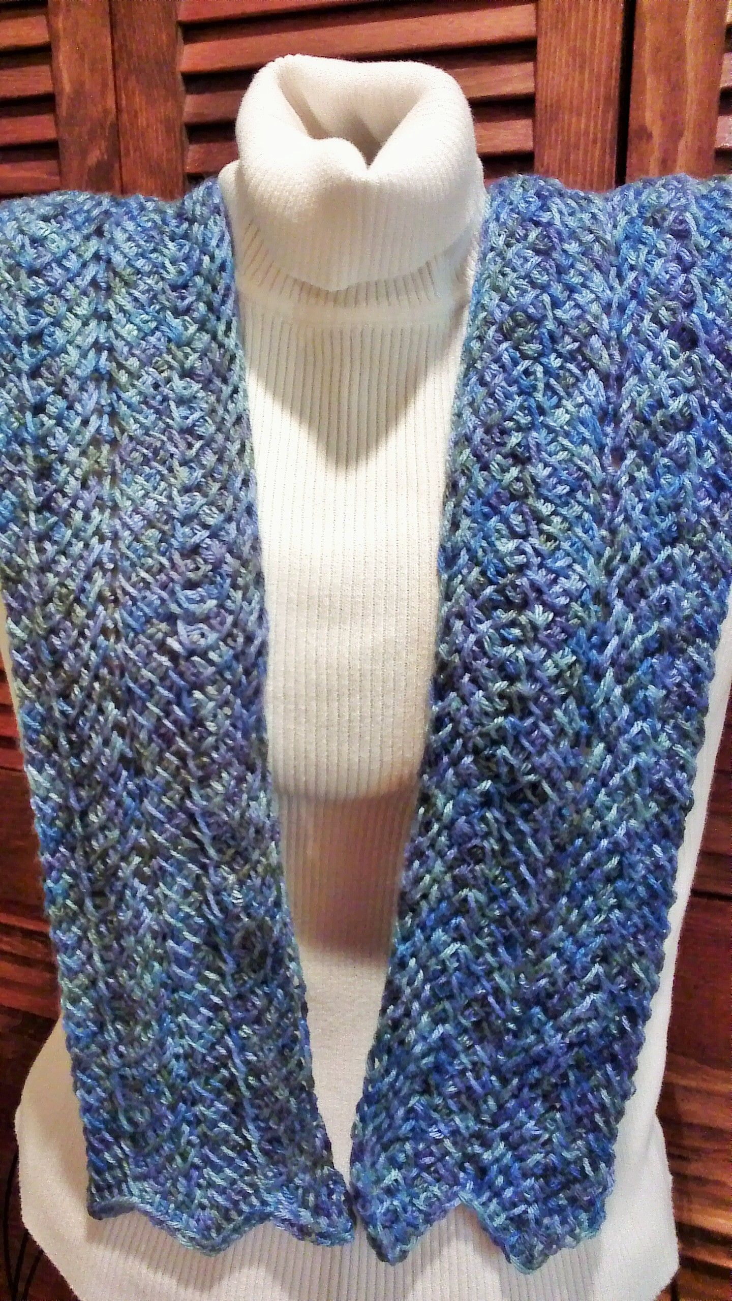 Tunisian crochet scarf done in the Ripple pattern available free on ...