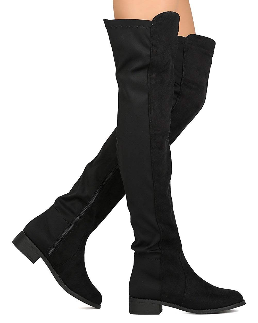 a3db3f6a7b04 ShoBeautiful Women Thigh High Flat Boots Pull on Low Block Heel Over The Knee  Boots by (TM) >>> Many thanks for viewing our photo.