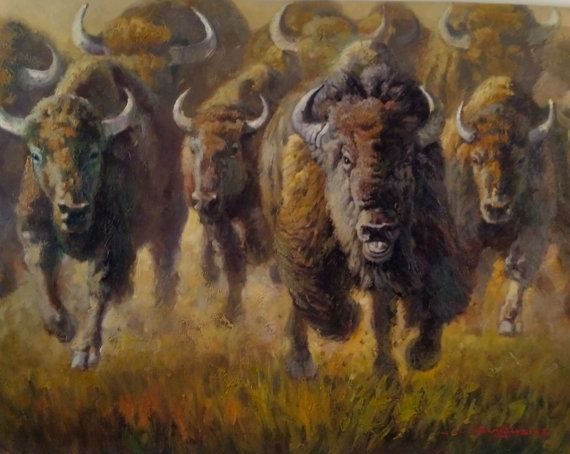 Buffalo Stampede By Carlislegallery On Etsy 1499 00