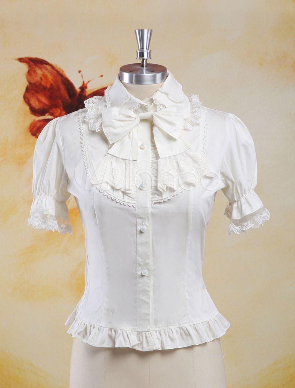 51e6546a3bb Sweet White Cotton Lolita Blouse Short Sleeves Lace Trim Bows ...