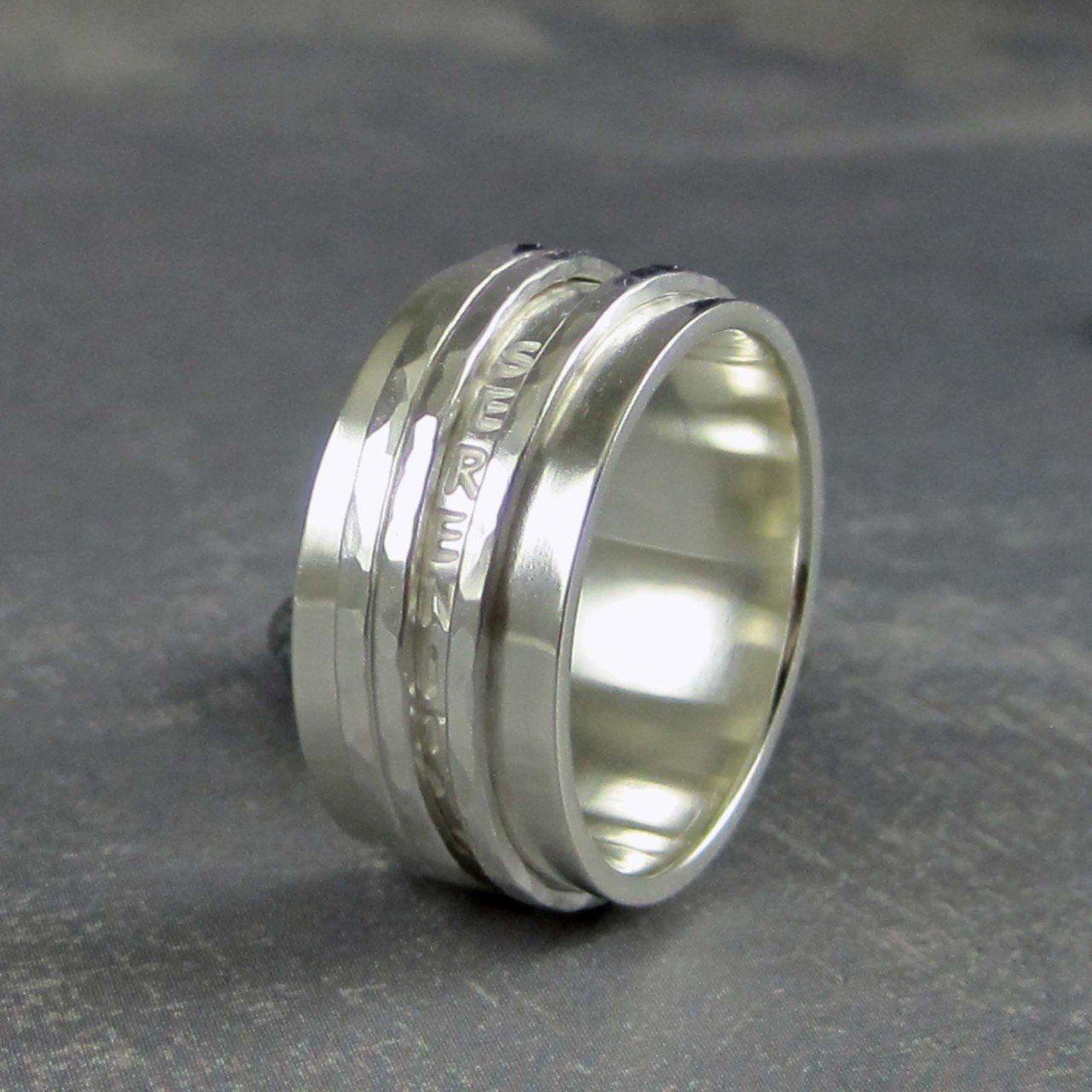 Serenity Prayer Ring In Sterling Silver Spinner Ring Serenity Prayer Ring Recovery Jewelry Rings For Men