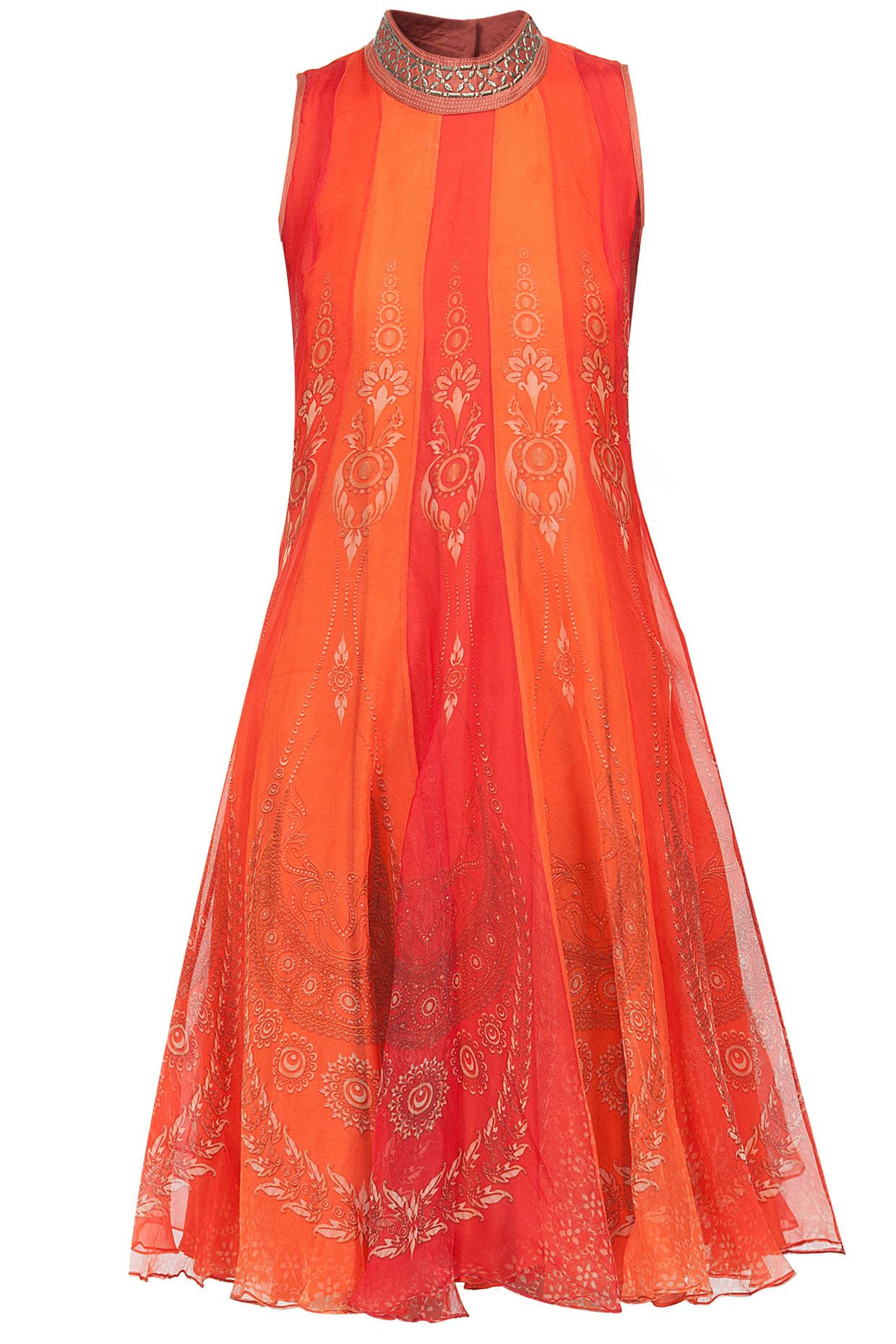 Red bidri plate flare sheer dress by tarun tahiliani shop now at