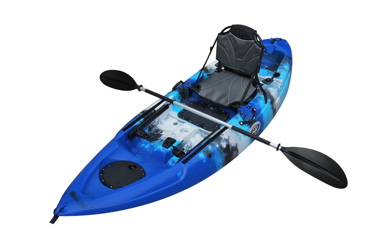 Bkc Fk285 9 Foot 2 Inch Sit On Top Agile Angler Solo Kayak Fishing Kayak W Upright Seat Paddle And Rod Holders Included Kayaking Kayak Fishing Fishing Kayaks For Sale