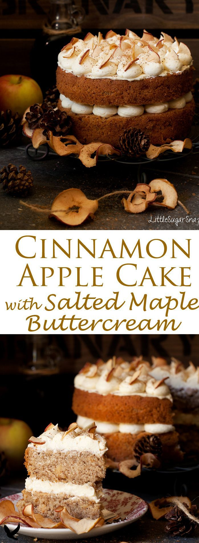 This Cinnamon Apple Cake is a light and bouncy sponge cake loaded with nuggets of home dried ... This Cinnamon Apple Cake is a light and bouncy sponge cake loaded with nuggets of home dried apple. Adorned by delectable salted maple buttercream, this is one elegant cake to fall in love with.