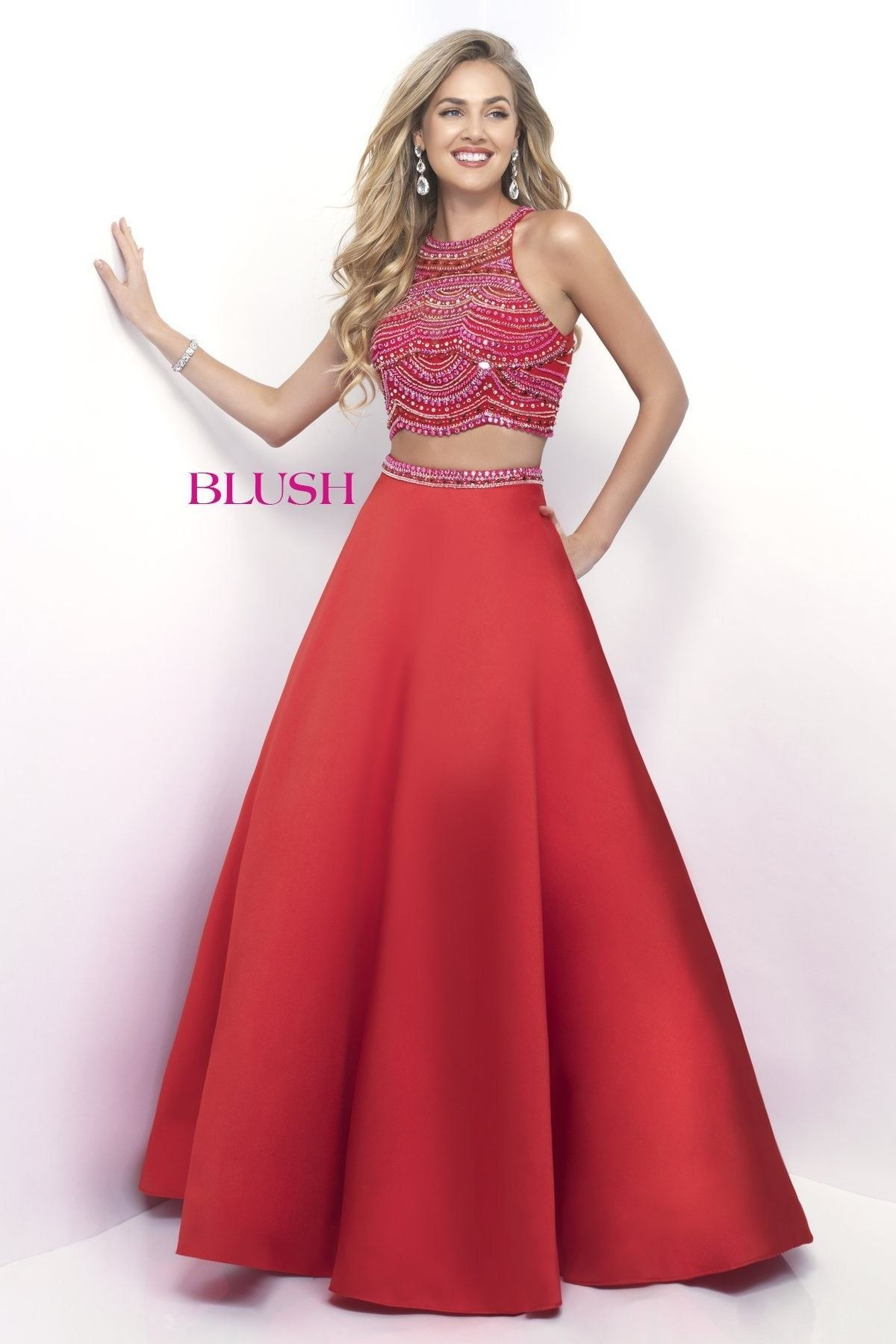 Pink by blush valentinepink twopiece prom dress Літо