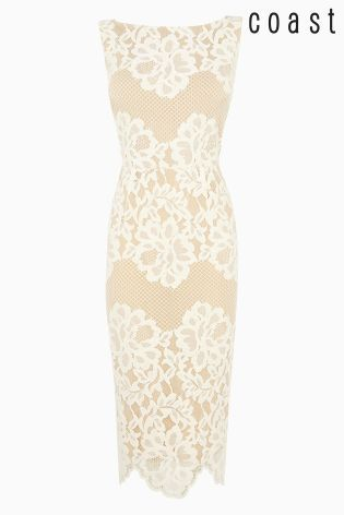 Buy Neutral Coast Moiselle Lace Shift Dress from the Next UK online ...