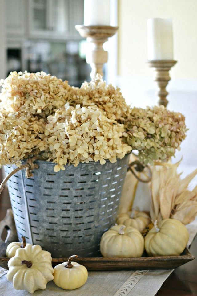 French Country Style Fall Centerpiece With Dried Hydrangeas And Pumpkins