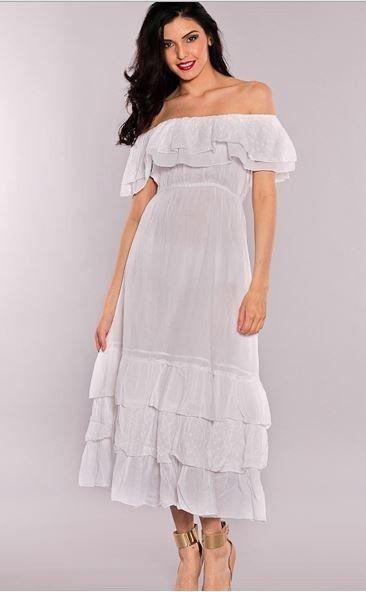 a2773323e41 Isabella White Cotton Tiered Ruffle Hem Empire Waist Peasant Maxi Dress M   SolClothing  Sundress  Casual  bohemian  peasant  dress