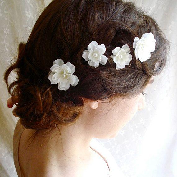 White Flower Hair Pins Fallen Stars Wedding By Thehoneycomb 28 00